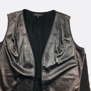 NWOT Lafayette New York Long Black Leather Vest